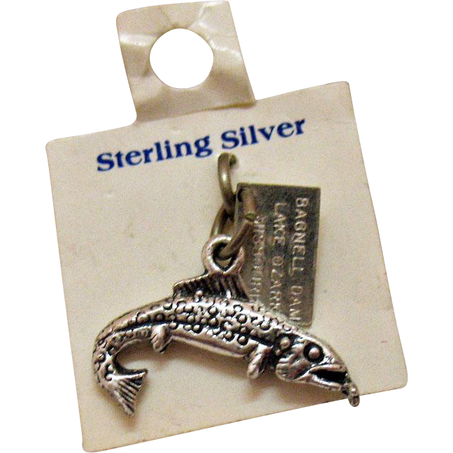 Vintage Signed Bell Trading Company Sterling Silver Bagnell Dam Missouri Firgural Bass Charm with Original Card