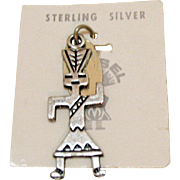 Signed Maisel Trading Post Vintage Charm Hopi Native American Indian Sedona Traditional Corn Dancer Sterling Silver