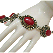 Signed Taxco TC-103 Vintage Mexican Natural Coral Sterling Silver Bracelet 42.7 Grams