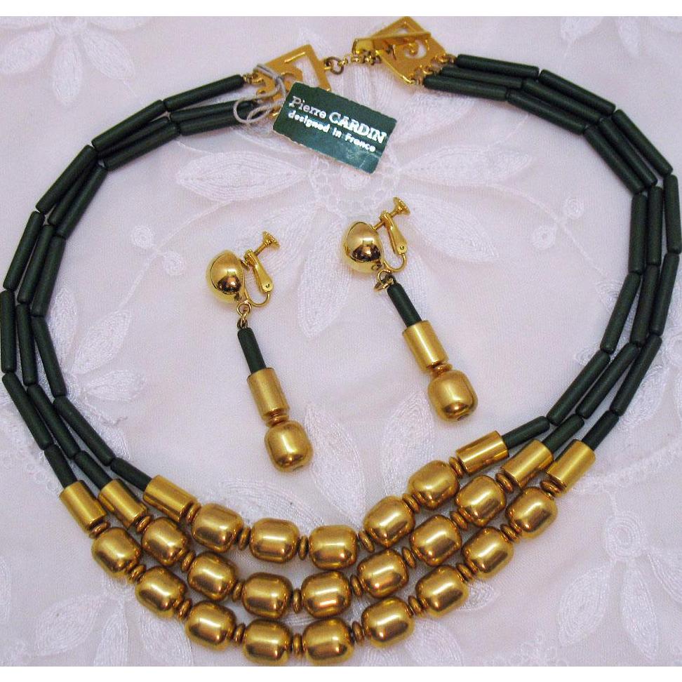 Signed Pierre Cardin Vintage French Designer Modernist Triple Strand Necklace Earrings Set Designed in France Original Tag