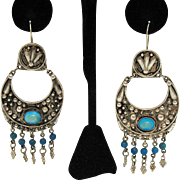 Amazing Hand Wrought Sterling Silver Turquoise Pierced Earrings Should Duster 3 ¼ Long