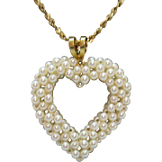 Vintage Crochet Faux Seed Pearl Heart Pendant on Gold Chain Necklace