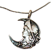 Signed Davian Guerra Sterling 925 Victorian Revival Three Quarter Moon Face Pendant Necklace