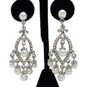 Vintage Milk Glass Beaded Faux White Pearl Rhinestone Chandler Pierced Earrings
