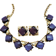 Signed Coro Vintage Purple Thermoset Golden Necklace Earrings Set