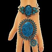 Rare Signed JJ Vintage 1970s Southwestern Santa Fe Line Faux Glass Turquoise Parure Necklace Clamper Bracelet Ring
