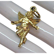 Signed JB 10K Gold Vintage Three Dimensional Angel or Cherub Charm
