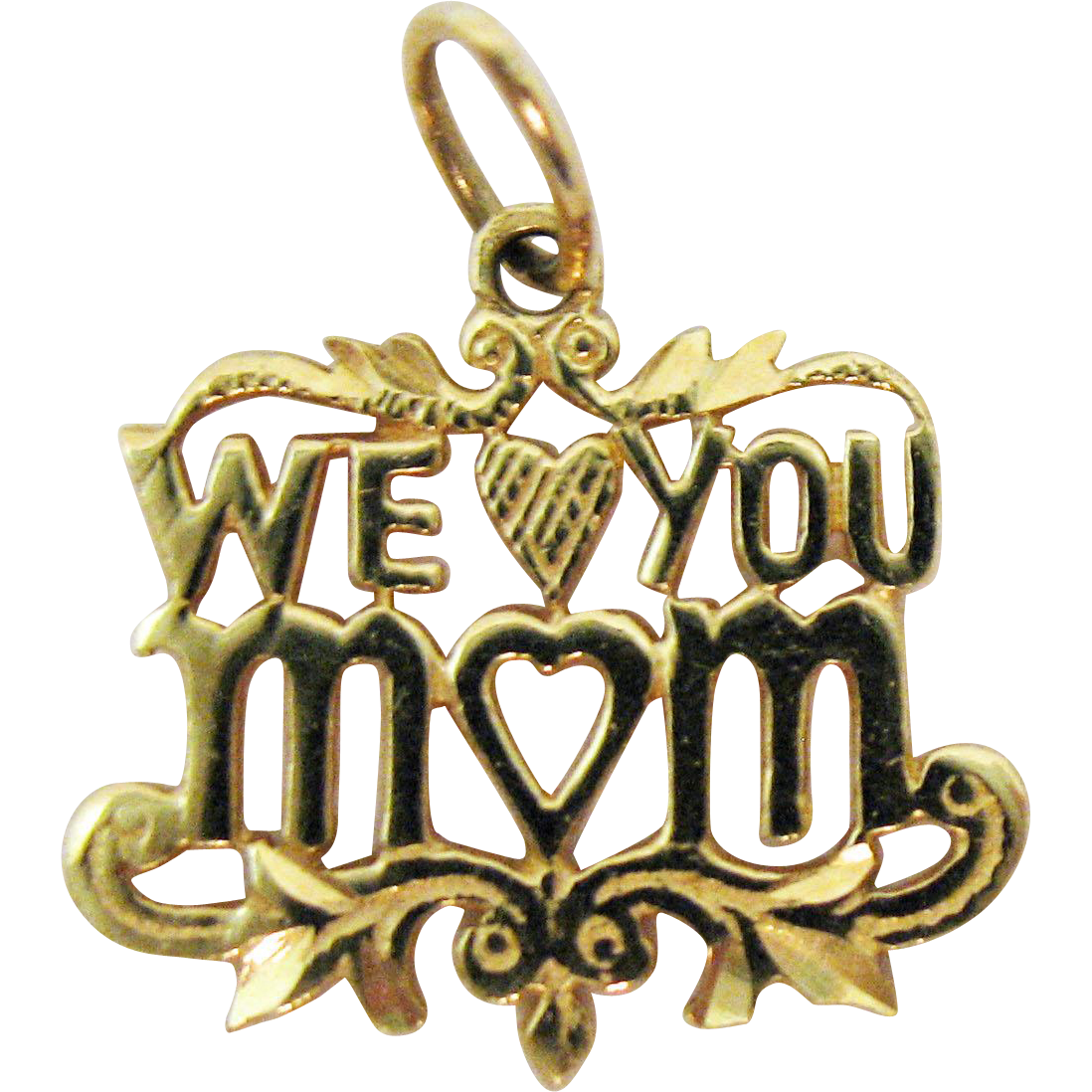 Vintage 14K Heart Charm Reads We Love You Mom