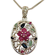 Signed 925 Italy Sterling Vintage Ruby Sapphire and Emerald Floral Pendant Necklace
