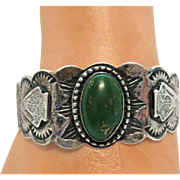 Heavy Sterling Silver Vintage Ornate Green Turquoise Story Telling Cuff Bracelet