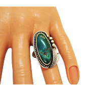 Bold Navajo Native American Indian Vintage Ring Sterling Silver Natural Green Turquoise