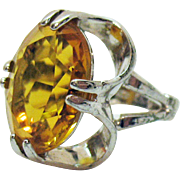 Signed Vargas Sterling Silver Vintage Oval Glass Citrine Ring Ring Finger Size 5