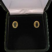 Signed AZ 14K Gold Smokey Topaz Vintage Pierced Earrings