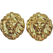 Bold Vintage Molded Gold Plated Metal Lion Clip Earrings