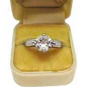 Rare Signed Judy Lee Jewels Sterling Silver Faux Diamond Solitaire Ring Vintage 1958
