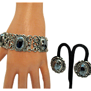 Vintage Renaissance Revival Silver Floral Hematite Bracelet Earrings Set