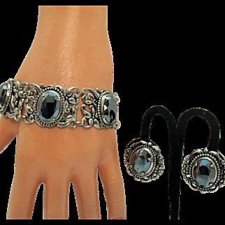 Vintage Renaissance Revival Silver Floral Hematite Bracelet Earrings Set