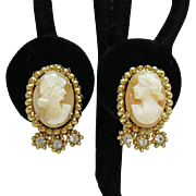 Signed Coro Vintage Cameo Rhinestone Screw Back Earrings