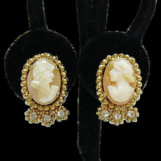 Signed Coro Vintage Cameo Rhinestone Screw Back Earrings