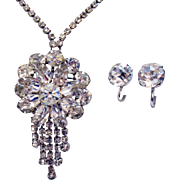 Rare Unsigned Eisenberg Vintage Convertible Rhinestone Necklace Interchangeable Pendant Solitaire Earrings Set