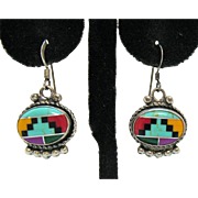 Signed Zuni Vintage Southwest Native American Gemstone Inlay Sterling Pierced Earrings