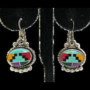 Signed Zuni Vintage Southwest Native American Gemstone Inlay Sterling Pierced Earrings