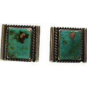 Vintage Sterling Silver Natural Turquoise Inlay Gents Cuff Links