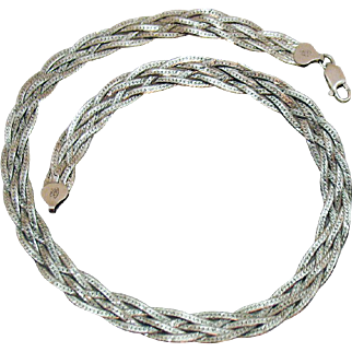 Signed Italy 925 Five Strand Woven Herringbone Chain Vintage Necklace 16 Inches