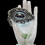 Beautiful Vintage Rhinestone Hesitate Scroll Hinged Bangle Bracelet