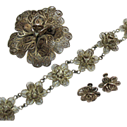 Vintage 1934 Signed Sterling Silver Mexican Cannetille Rose Parure Bracelet Brooch Earrings Set