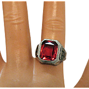 Art Deco Vintage Red Glass Cushion Cut Sterling Silver Cushion Cut Ring Unisex