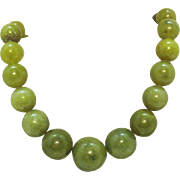 Signed DTR Desert Rose Trading Sterling Silver Vintage Olive Green Beaded Jade Necklace