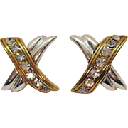 Signed Avon SH Vintage Pava Cubic Zirconia X Two Tone Pierced Earrings.