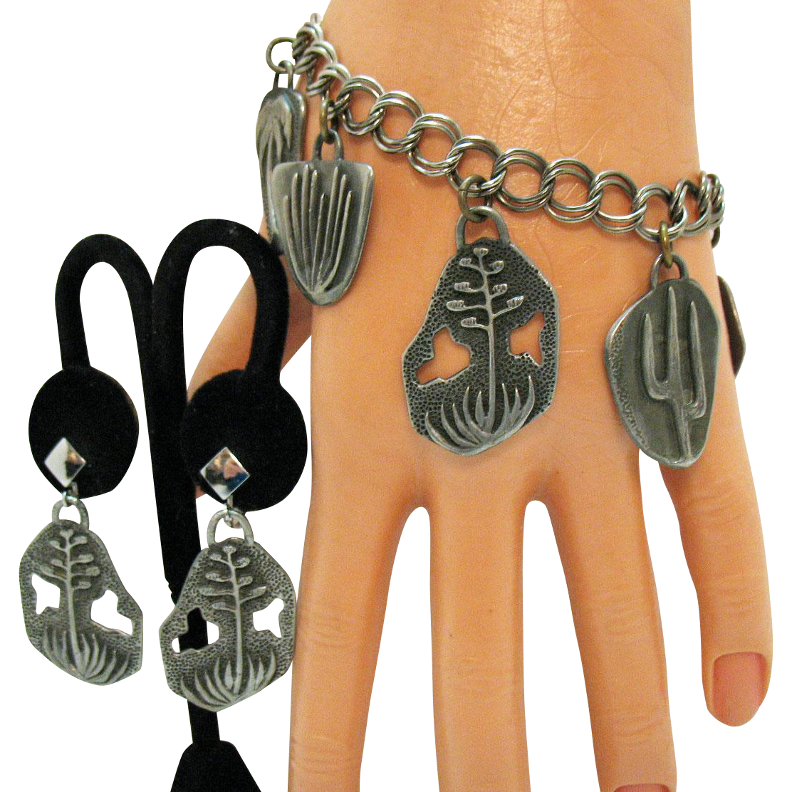 Rare Signed Ray Graves Gra-Wun Vintage Pewter Charm Bracelet Earrings Set Southwestern Mid Century Naturalistic