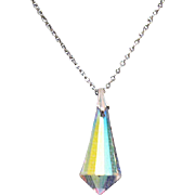 Vintage Art Deco Rhodium Plated Faceted Glass Crystal Pendulum Necklace