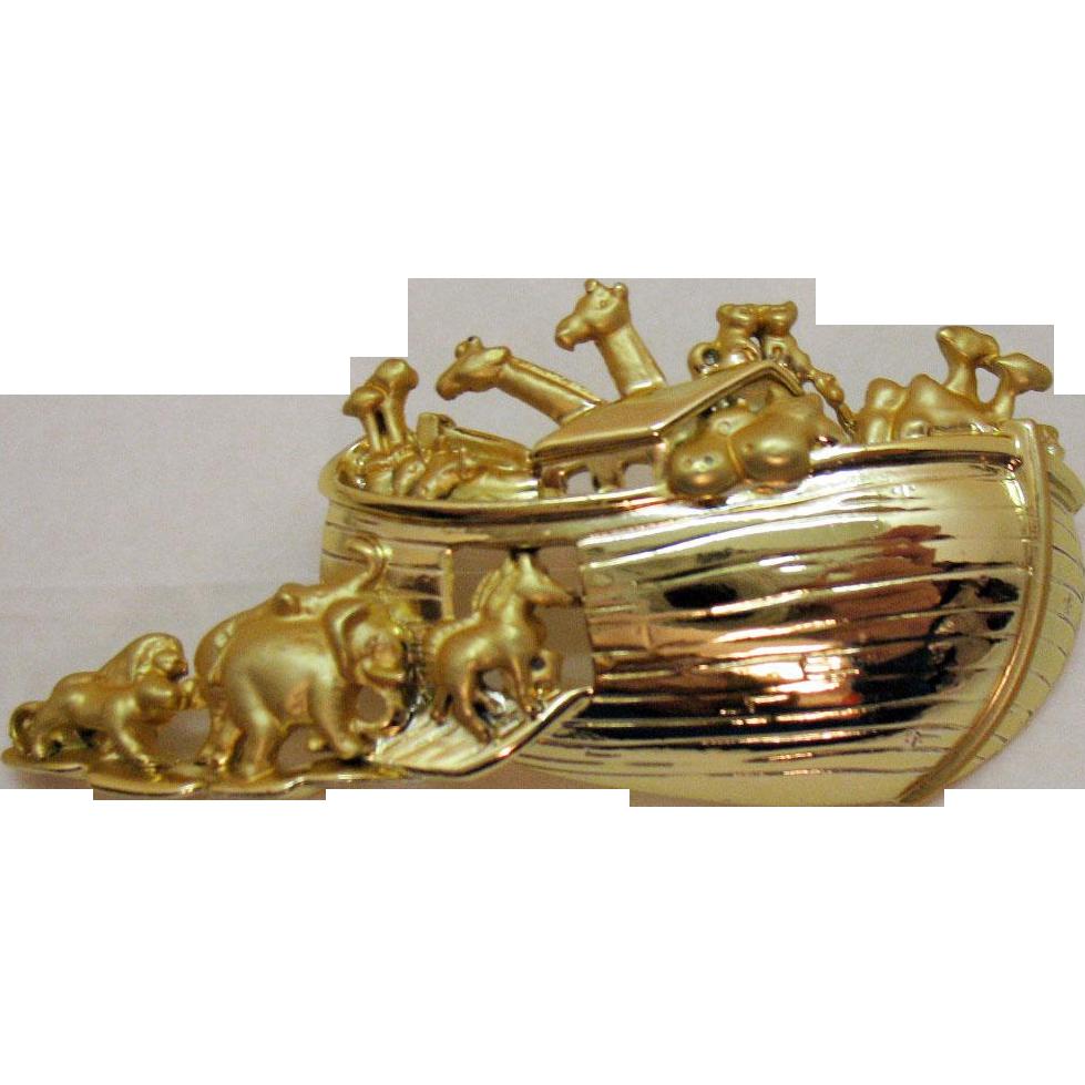 Bold Vintage Signed AJ Company Golden Noah's Ark Brooch