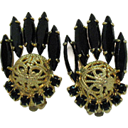 Juliana D&E Delizza Ester Vintage Gold Filigree Ball Clip Earrings Black Marquise Rhinestone