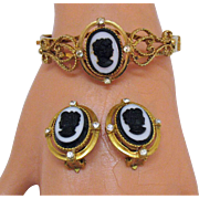 Black White Cameo Heart Scrolls Vintage Clamper Bracelet Earrings Set