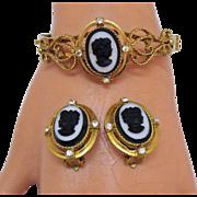 Black White Cameo Heart Scrolls Vintage Clamper Bracelet Earrings Set