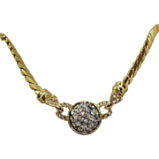 Vintage Heavy Cain Pava Rhinestone Necklace Signed Made in USA