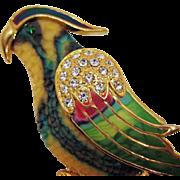 STUNNING Vintage Resin Rhinestone Enameled Parrot Bird Brooch 4 Inches Long