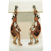 Signed SE 1994 Vintage Copper Kachina Flute Dancers Pierced Earrings