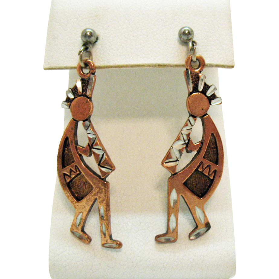 Signed SE 1994 Vintage Copper Kachina Flute Dancers Pierced Earrings