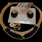 Signed Jewels by Park Lane Italian Designed Pava Enameled Parure Necklace Ring Earrings Set UNWORN!