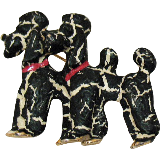 Unusual Vintage Double Poodle Brooch with Crackle Enameled Finish