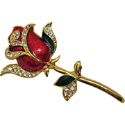 Gorgeous Vintage Enameled Rhinestone Rose Brooch