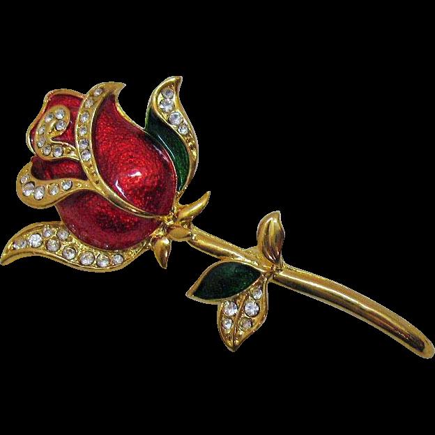 Gorgeous Vintage Enameled Rhinestone Rose Brooch