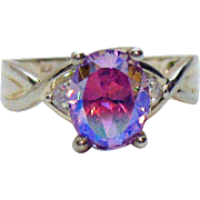 Stunning Sterling Silver Mystic Topaz Cubic Zirconia Vintage Band Ring
