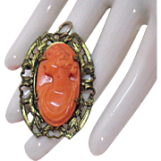 Antique Victorian Carved Coral Cameo Convertible Brooch Pendant