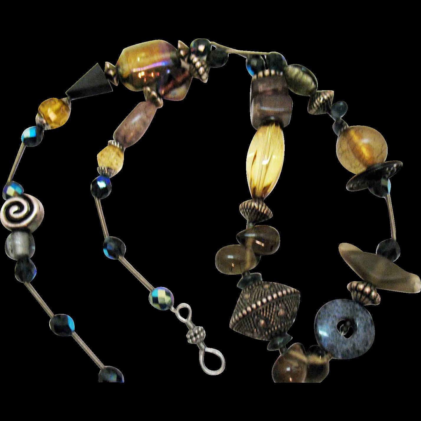 Unusual Signed Treska Vintage Eclectic Beaded Necklace